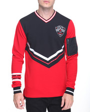Men - V-Neck Varsity Pullover w MA-1 Pocket