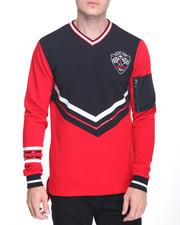 Pullover Sweatshirts - V-Neck Varsity Pullover w MA-1 Pocket