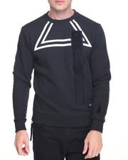Pullover Sweatshirts - Velour Insert Crewneck Sweatshirt