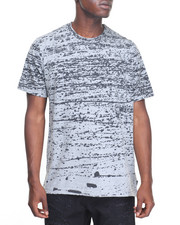 Men - S/S Composition Print  Tee w Zipper Fishtail