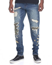 Men - Cargo Repaired Denim Jeans