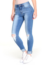 Women - Rolled Cuff Sandblasted Rip Knee Stretch Skinny Jean