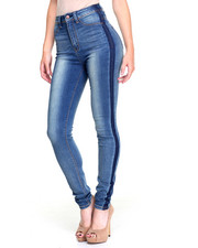 Jeans - Tuxedo Sides Ripples Stretch Skinny Jean