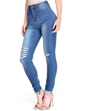 Women - Sandblasted Destructed Stretch Skinny Jean