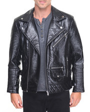 Men - Faux Leather Biker Jacket