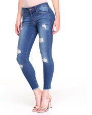 Women - Sandblasted Frayed Hem Ankle Biter Stretch Skinny Jean