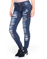 Women - Full Leg Rip & Tears Stretch Skinny Jean
