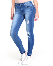 Women - Released Hem Sandblasted Destructed Stretch Skinny Jean