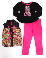 Girls - 3 PC ANIMAL PRINT PUFFER VEST W/ JEANS SET (4-6X)