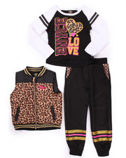 Girls - 3 PC ANIMAL PRINT PUFFER VEST W/ JOGGERS SET (4-6X)