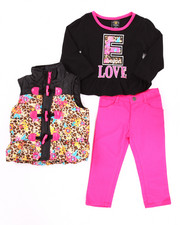 Sets - 3 PC ANIMAL PRINT PUFFER VEST W/ JEANS SET (2T-4T)