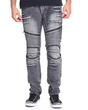 Men - Distressed Moto Jean