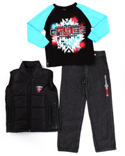 Sets - 3 PC PUFFER VEST & JEANS SET (4-7)
