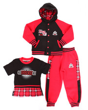 Sets - 3 PC PLAID HOODY & JOGGERS SET (4-7)