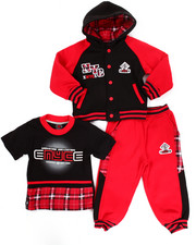 Sets - 3 PC PLAID HOODY & JOGGERS SET (2T-4T)