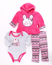 Infant & Newborn - 3 PC FAIRISLE BUNNY CORAL FLEECE HOODY SET (NEWBORN)