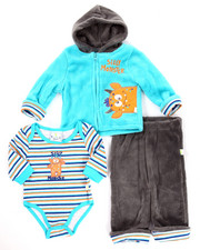 Infant & Newborn - 3 PC SILLY MONSTER CORAL FLEECE HOODY SET (NEWBORN)