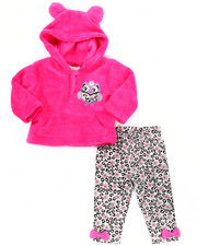 Sets - 2 PC OWL CORAL FLEECE SET (NEWBORN)