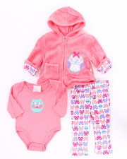 Infant & Newborn - 3 PC OWL CORAL FLEECE HOODY SET (NEWBORN)