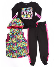 Girls - 3 PC SPLATTER PRINT PUFFER VEST W/ JOGGERS SET (4-6X)