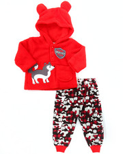 Infant & Newborn - 2 PC LIL' EXPLORER CORAL FLEECE SET (NEWBORN)