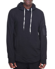Hoodies - Pullover Hoodie w/ Zip PCKT Sleeve