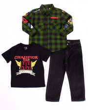 Sets - 3 PC SET - MILITARY WOVEN, TEE, & JEANS (2T-4T)