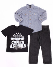 Sets - 3 PC SET - CHAMBRAY WOVEN, TEE, & JEANS (2T-4T)