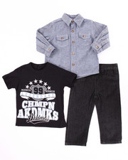 Sets - 3 PC SET - CHAMBRAY WOVEN, TEE, & JEANS (INFANT)