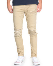 Jeans & Pants - Rip & Tear Side - Zip Twill Pants