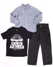 Sets - 3 PC SET - CHAMBRAY WOVEN, TEE, & JEANS (4-7)