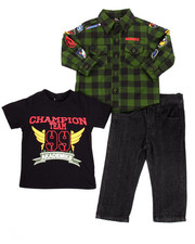 Infant & Newborn - 3 PC SET - MILITARY WOVEN, TEE, & JEANS (INFANT)