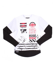 Sizes 8-20 - Big Kids - L/S ELONGATED WORLD TEE (8-20)