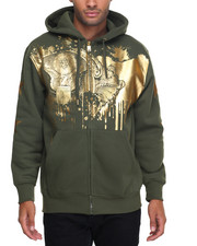 Men - Money Foil Print Zip Hoodie