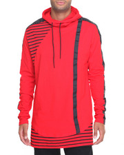 Hoodies - Colorblock Shoulder - Stripe Pullover Hoodie
