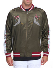 Men - SATIN SOUVENIR JACKET W/ CRANE EMBROIDERY