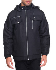 Heavy Coats - Ballistic Drawstring Nylon - Filled Hooded Jacket