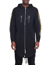 Men - Long Bomber Jacket w Zipper Trim