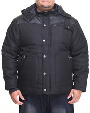 Men - Ballistic Nylon Faux - Leather Quilted Hooded Parka W/ Storm Cuffs (B&T)