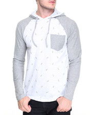 Men - Feather Print Hoody