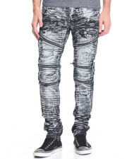 Men - Zipper Washed Biker Denim Jeans