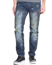 Men - Woven - Panel Moto Denim Jeans