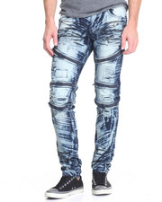 Men - Foil - Coated Moto - Style Denim Jeans