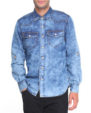 Rocawear - Rinse Denim Fashion Denim L/S Button-down