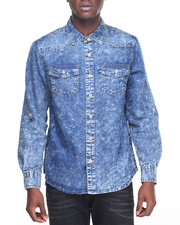 Rocawear - Acid Wash Fashion Denim L/S Button-down