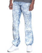 Ripping Trim Washed Denim Jeans