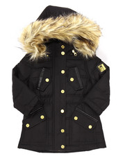 Girls - PUFFER JACKET W/ FAUX FUR TRIM HOOD (2T-4T)