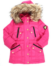Girls - PUFFER JACKET W/ FAUX FUR TRIM HOOD (4-6X)