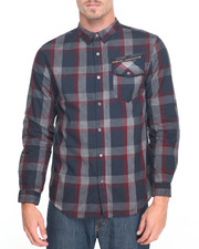 Shirts - Overdyed Plaid Zip Pocket Shirt