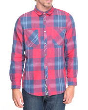 Shirts - Overdyed Red Plaid Shirt w Floral Cuff